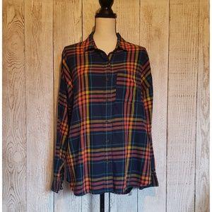 Old Navy Plaid Button Down Boyfriend Flannel Shirt